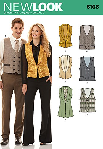 Simplicity Creative Patterns New Look 6166 Misses' and Men's Vest, A (8-18/X-Small-X-Large)