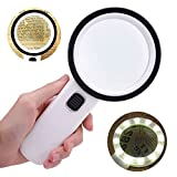 30X Handheld Magnifying Glass with 12 LED Lights and UV Light - Perfect Gift for Elderly & Kids - Extra Large Double Glass Lens Magnifier for Reading, Exploring, Hobbies and Currency Detecting