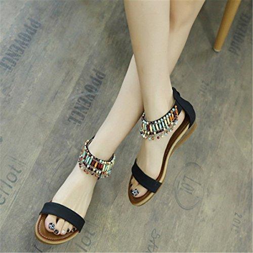 Confortable Casuel Plage Sandales Style Mode Perlés Plats Fanessy Noir Porter pour Bohème d'été Décontractés Talon Femme à Roman UXYfnwq6