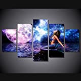 [Medium] Premium Quality Canvas Printed Wall Art Poster 5 Pieces / 5 Pannel Wall Decor Rusalka Blue Mermaid Painting, Home Decor Pictures - With Wooden Frame