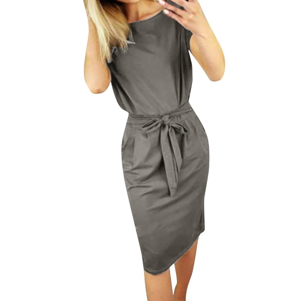 St.Dona Ladies Summer Solid Color Short Sleeve Casual Pocket Evening Party Knee-Length Dress Dress for Womens Elegant