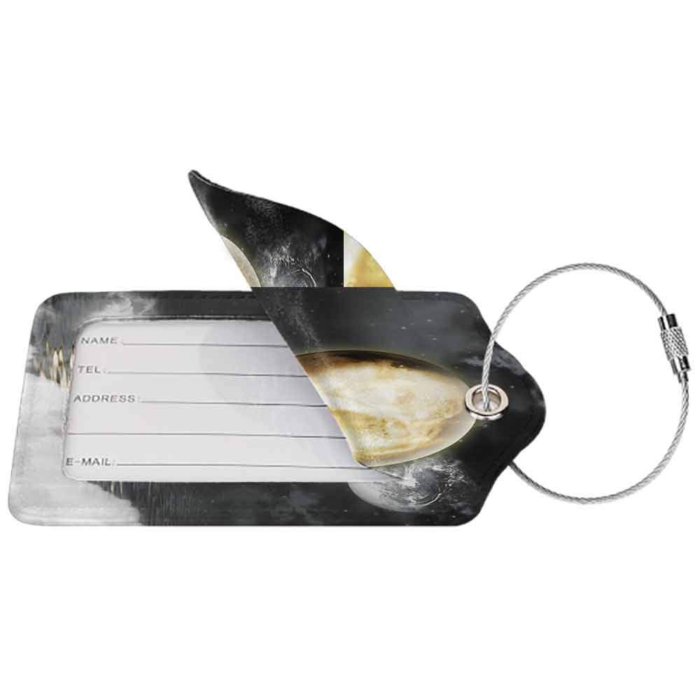 Multicolor luggage tag Moon Moonshine Burning Moon over the Sea Night Moonlight Scene Theme Hanging on the suitcase W2.7 x L4.6