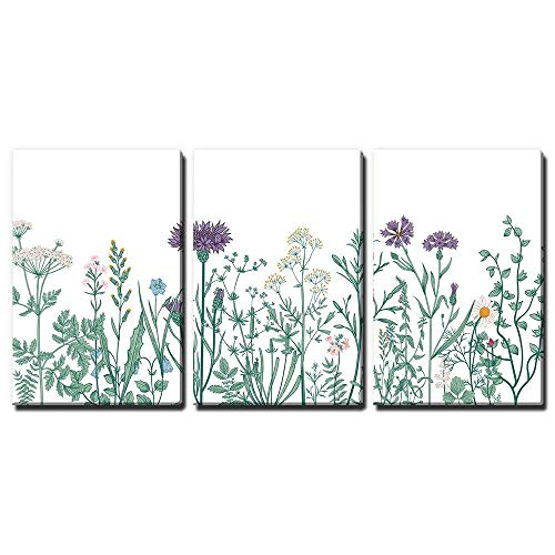 3 Panel Hand Drawing Style Colorful Plants and Flowers x 3 Panels