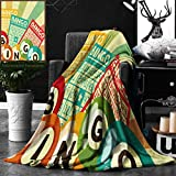Unique Custom Double Sides Print Flannel Blankets Vintage Decor Bingo Game With Ball And Cards Pop Art Stylized Lottery Hobby Celebratio Super Soft Blanketry for Bed Couch, Twin Size 60 x 80 Inches