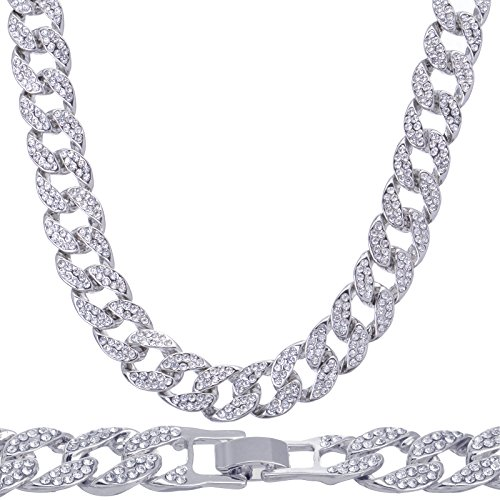 METALTREE98 Men's Fashion Hip Hop Lab Created Diamond 15 mm 16'' Solitaires Cuban Chain Necklace (Silver Toned) by METALTREE98