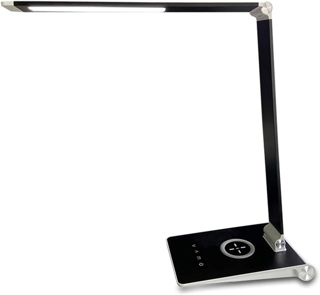 HDTIME Office Desk Lamp with USB Charging Port, Wireless Charger Touch Control Eye-Caring Table Lamp with 3 Lighting Temperatures&5 Brightness Levels Premium Aluminium for Working/Reading(Black)