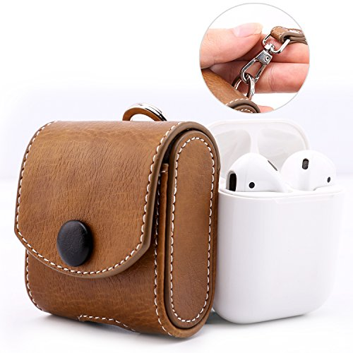 MoKo Airpods Case, Snap Closure Protective Cover Carrying Pouch Pocket, with Holding Strap, for Apple AirPods Charging Case - Brown