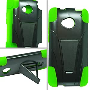 HTC One M7 Hybrid Case with Y Shape Stand Protector Cover - Black and Neon Green