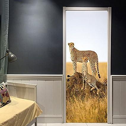 Amazon.com: Kezhy 3D Creative Animals Cheetah Door Sticker ...