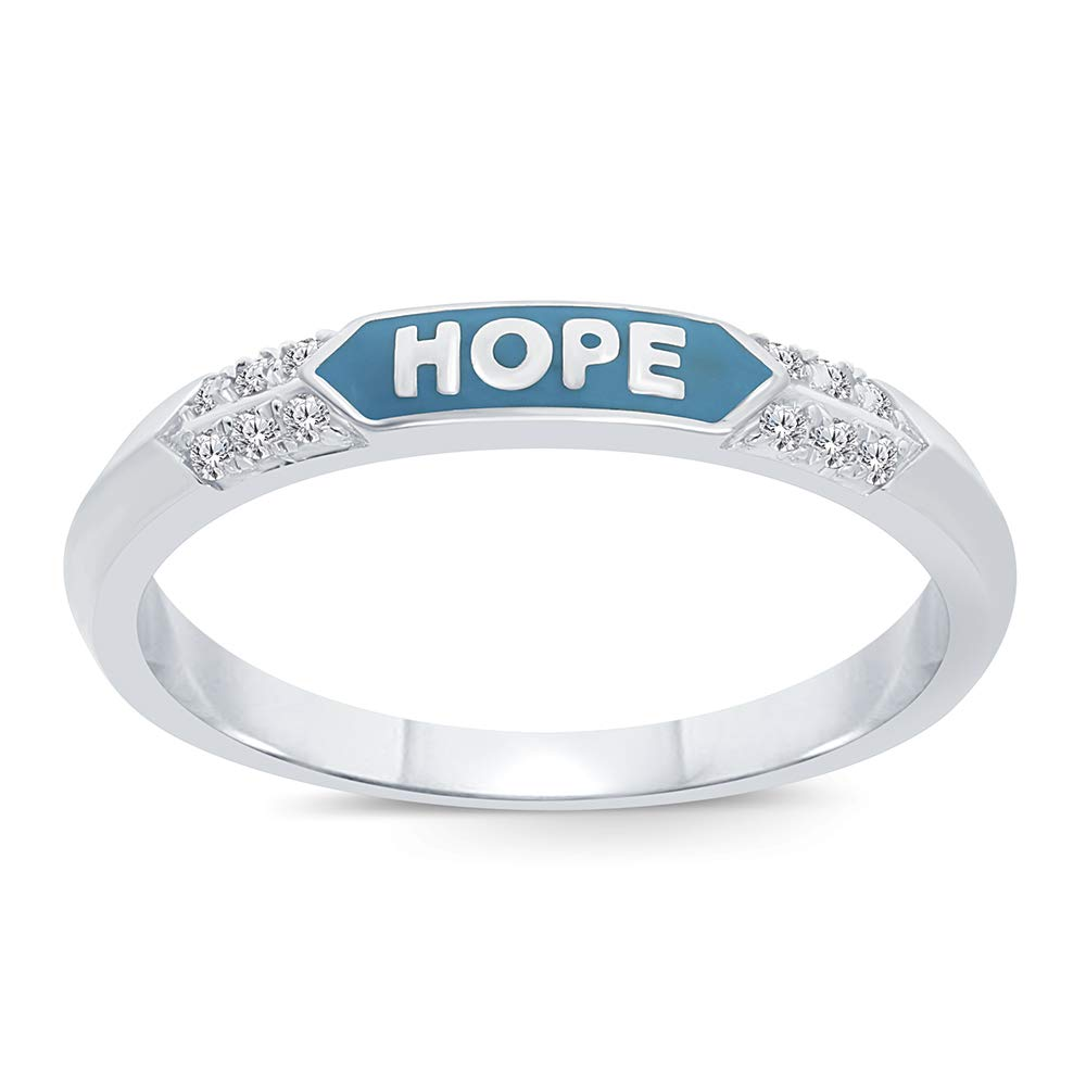 Round White Diamond Hope Ring Accent Sterling Silver Enamel Ring Band Love Hope Strength Stack Ring for Womens (Hope, 8) by La Joya
