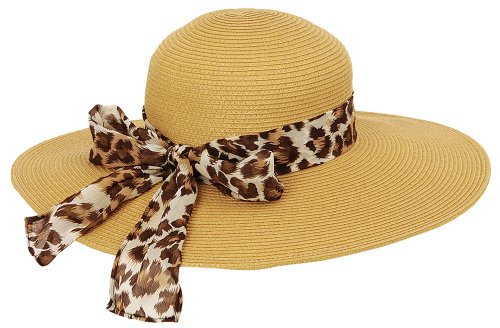 Sun N' Sand Womens Animal Scarf Ambrosia Hat One Size Natural