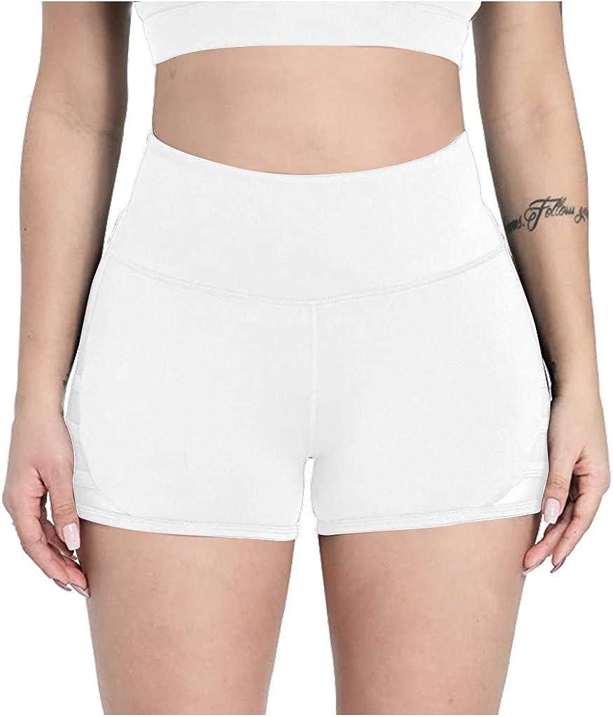 LINKIOM Womens Hips High Waist Sports Yoga Shorts 1 Pack