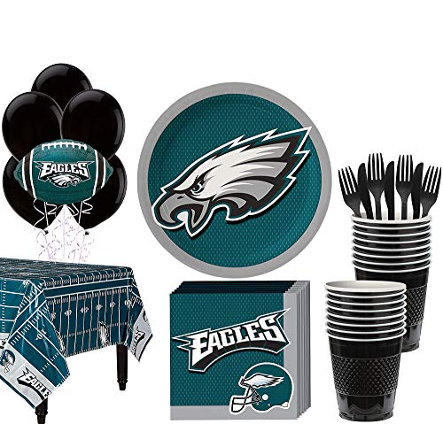 Eagles Party Decorations (Party City Philadelphia Eagles Super Party Supplies for 18 Guests, Include Plates, Napkins, Table Cover, and)
