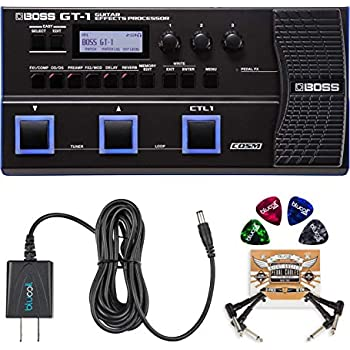 BOSS GT-1 Guitar Multi-Effects Processor Bundle with BOSS Tone Studio, Blucoil 9V DC Power Supply, 2-Pack of Pedal Patch Cables and 4-Pack of Celluloid ...