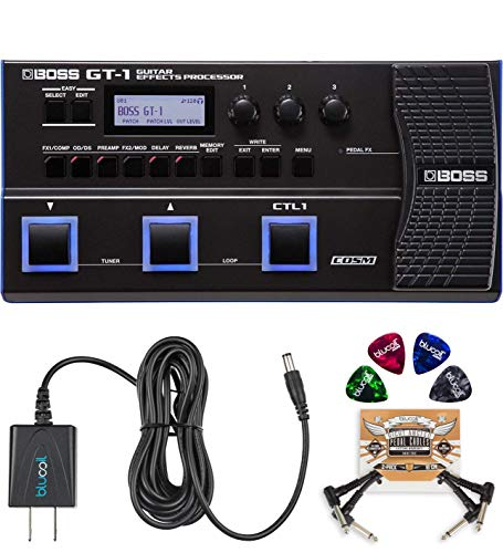 BOSS GT-1 Guitar Multi-Effects Processor Bundled with BOSS Tone Studio, Blucoil 9V DC Power Supply, 2-Pack of Pedal Patch Cables and 4-Pack of Celluloid Guitar Picks