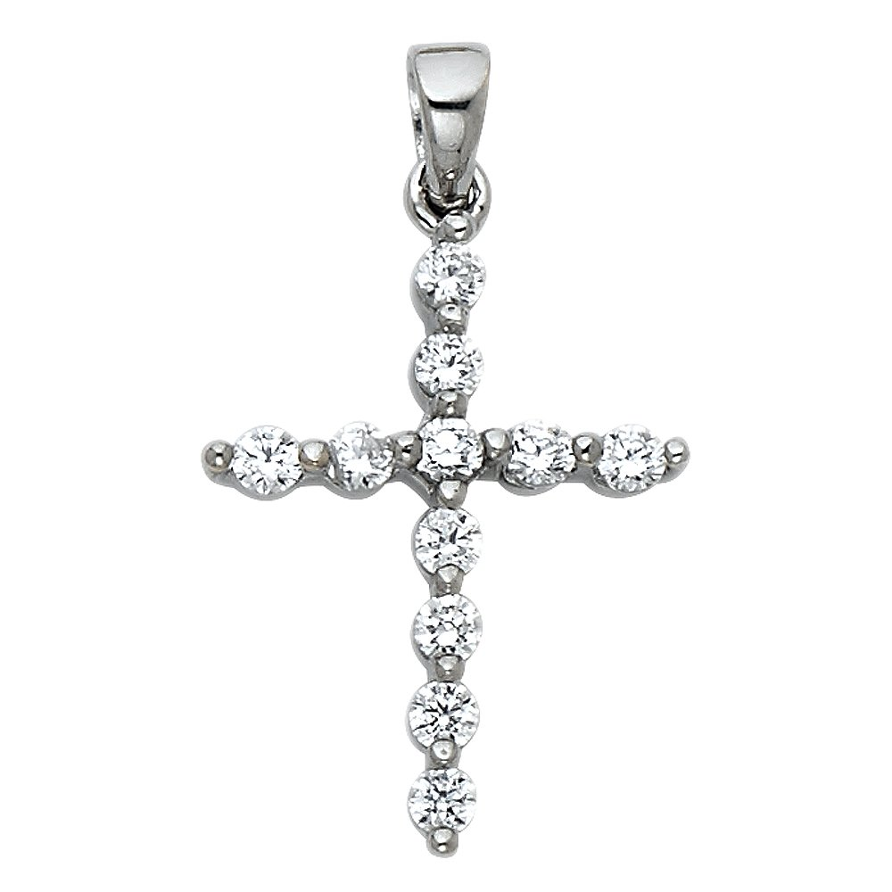 14K White Gold OR Yellow Gold Fancy Cross Cubic Zirconia CZ Studded Religious Charm Pendant For Necklace OR Chain Ioka