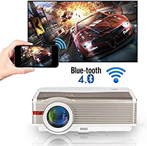 5000 Lumens WXGA WiFi Bluetooth Projector LCD HD 1080P Airplay Supported LED Android Home Theater Video Projector Outdoor Wireless HDMI USB VGA AV Audio for iPhone iPad TV PC DVD Xbox PS4 Laptop Ga