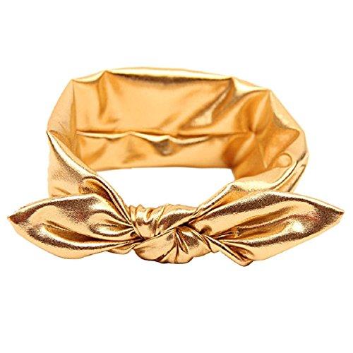 Gold Rabbit (Girls Rabbit Bow Ear Hairband Headband Stretch Turban Knot Tie Head Wrap (Gold))