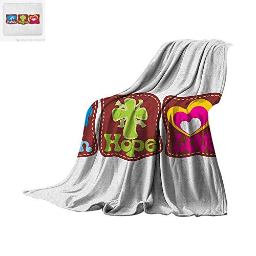 Hope Super Soft Lightweight Blanket Colorful Religious Pattern with Hearts Doves and Spiritual Symbols in Retro Style Custom Design Cozy Flannel Blanket 62