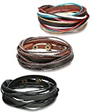 ORAZIO 3-9PCS Leather Bracelet for Men Womens Rope Wrap Bangle Cuff Bracelet,7-8 Inches Adjustable