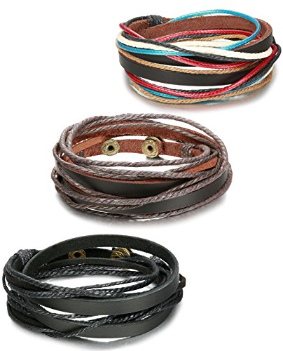 ORAZIO+3PCS+Leather+Bracelet+for+Men+Womens+Rope+Wrap+Bangle+Cuff+Bracelet%2C7-8+Inches+Adjustable