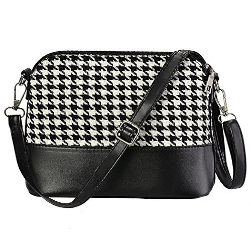 Women Synthetic Leather Plaid Shoulder Bag Cross Body Messenger Bag 4 Colors (9.0 x 7.0inch, Black&White(Houndstooth))