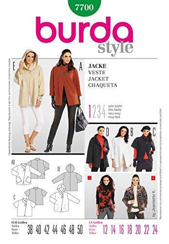 Burda Ladies Easy Sewing Pattern 7700 - Jackets & Coats Sizes: 12-24 ...