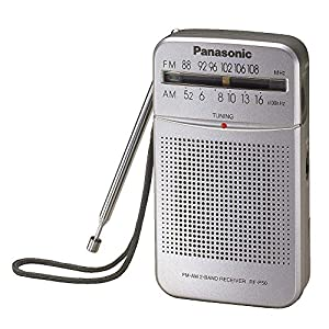 Panasonic All in One Compact Design Pocket Size Portable AM/FM Radio with Built-in Speaker, Earphone Jack, LED Tuning Indicator & Carry Strap