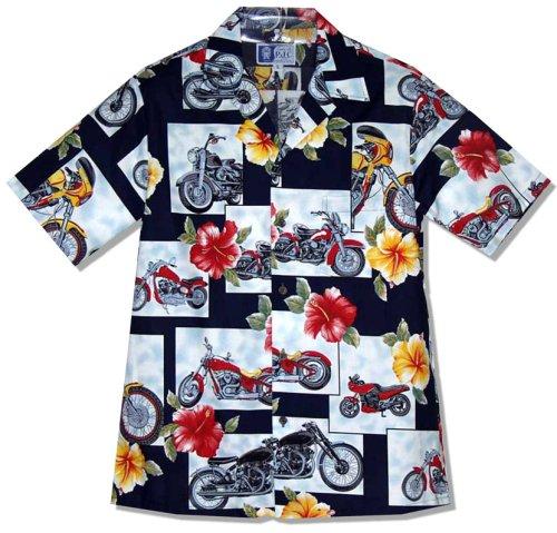 Motorcycle Hibiscus Men's Hawaiian Aloha Shirt in Navy Blue - Medium (Motorcycle Shirt Hawaiian)