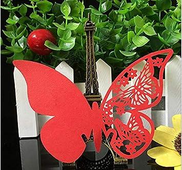 bautizos Papel Fablcrew 8 * 10CM Fiestas cumplea/ños para decoraci/ón de Bodas 50 Tarjetas de Mesa para Nombre con Forma de Mariposa Beige
