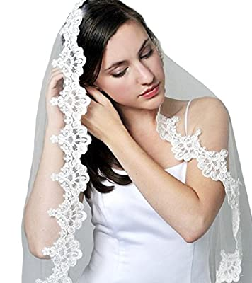 Pampred Bride Ivory Lace Mantilla Bridal Wedding Veil Headpiece 53x73""