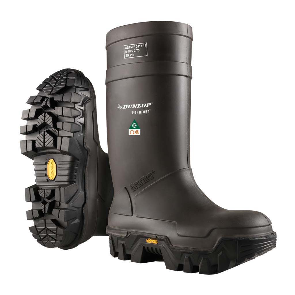 Dunlop E90203311 Explorer Thermo Full Safety Boots with Slip-Resistant Vibram Rubber Sole and Steel Toe, 100% Waterproof Purofort Material, Lightweight and Durable Protective Footwear, Size 11
