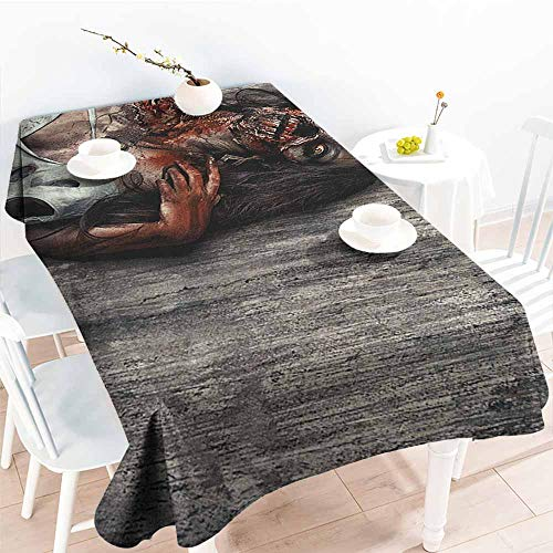 EwaskyOnline Fashions Rectangular Table Cloth,Zombie Angry Dead Woman Sacrifice Fantasy Design Mystic Night Halloween Image,Table Cover for Dining,W60x84L, Dark Taupe Peach Red