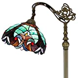 Tiffany Style Reading Floor Lamp Stained Glass Green Liaison Lampshade in 64 Inch Tall Antique Arched Base for Girlfriend Bedroom Living Room Lighting Table Set S160G WERFACTORY