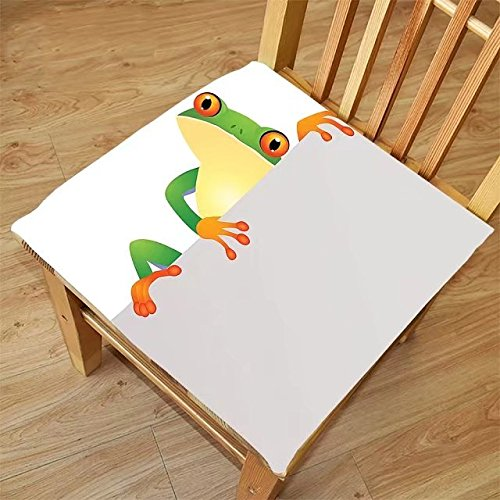Nalahome Set of 2 Waterproof Cozy Seat Protector Cushion Reptile Decor Funky Frog Prince With Big Eyes On The Wall Camouflage Nursery Reptiles Decor Green Yellow Orange Printing Size 18x18inch