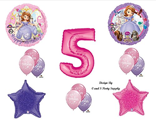 1 X Disney's SOFIA THE FIRST FIFTH 5TH Happy Birthday PARTY Balloons Decorations Supplies -