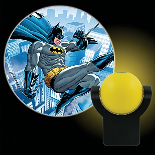 Projectables 10445 Batman LED Plug-In Night Light, Yellow and Black, Collector's Edition, Light Sensing, Auto On/Off, Projects DC Comics Dark Knight Image on Ceiling, Wall, or Floor