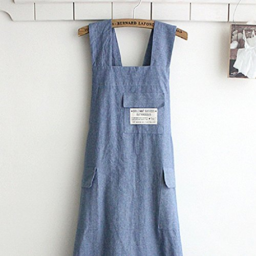Chef Apron Gift Japanese style X Shape denim smock Natural Cotton APRON Halter Cross Bandage Bib Kitchen Garden Wear