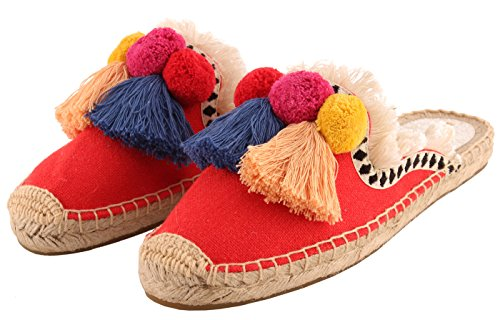 U-lite Women's Frayed Red Tassel Pom pom Embroidered Canvas Mule Shoes Espadrilles Flats 10 by U-lite (Image #6)