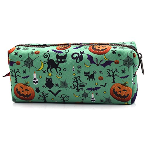 LParkin Halloween Students Canvas Pencil Case Pen Bag Pouch Stationary Case Makeup Cosmetic Bag (Blue)