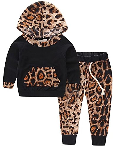 Long Sleeves Fashion Leopard Hooded Hoodie Sweatshirt Pullover & Harem Jogger Pants Set Outfit Tracksuit for Infant, Toddler Baby & Little Girls, Black 0-6 Months = Tag 70 - Floral Girls Pullover