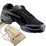 Bundle- 4 items - Very Fine Mens Womens Unisex Practice Dance Sneaker Split Sole VFSN008 Pouch Bag Sachet, Black 13 M US