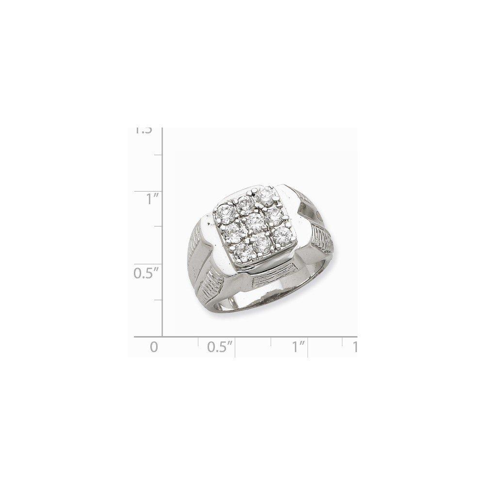 Brilliant Bijou Solid .925 Sterling Silver Mens CZ Cubic Zirconia Ring
