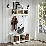 Crosley Furniture Brennan Entryway Storage Bench and Hanging Shelf Set - White