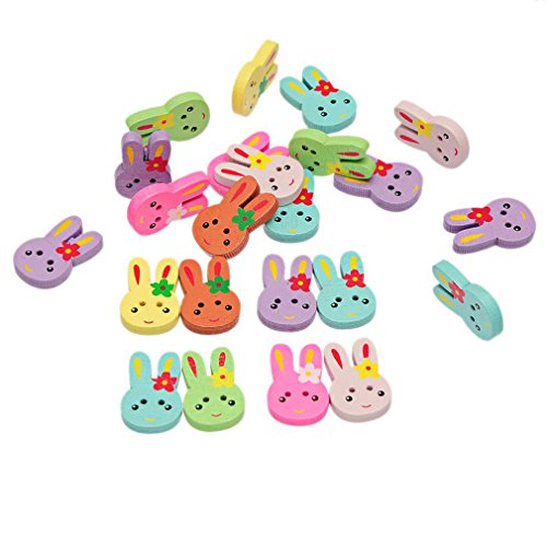 Souarts Pack of 70pcs Mixed Rabbit Head 2 Holes Wooden Buttons Rabbit Shape ()