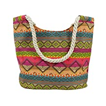 Ladies Women Large Beach Shoulder Tote Shopping Bag Shopper Carrier Canvas Handbag Stripe Zipper