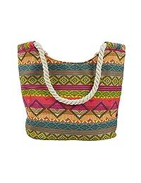 Ladies Women Large Beach Shoulder Tote Shopping Bag Shopper Carrier Canvas Handbag Stripe Zipper