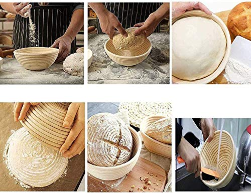 10 Inch Bread Banneton Proofing Basket - dough bowl Gifts for Bakers Proving Baskets for Sourdough Bread Jar Proofing Box & Bread brush & Linen Liner