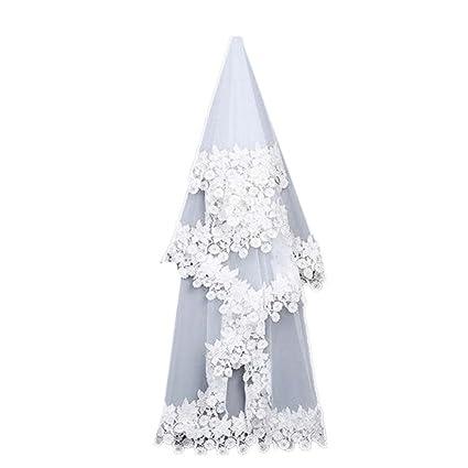 EBlanco de encaje bordado de cinta bordada velo elegante velo de novia de la boda