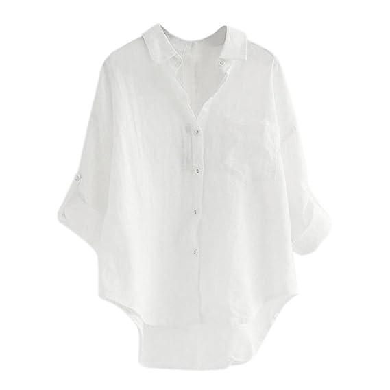 Damen Hemd Bluse Knöpfe V-Ausschnitt Leinen T-shirt Sommer Blusenshirt Oberteil